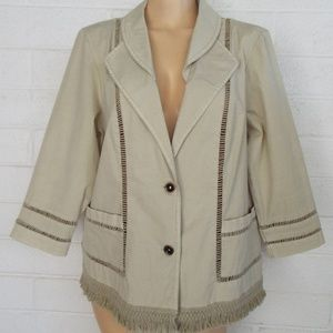 Chico's Zenergy 2 L khaki fringed hem jacket